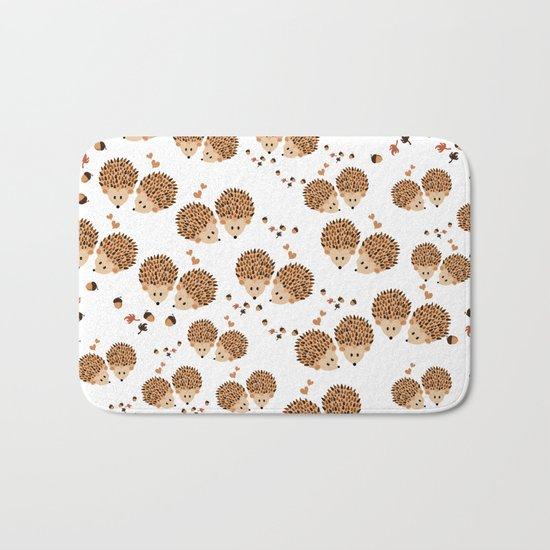 Hedgehogs in autumn Bath Mat