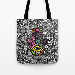 Colorful Hand Drawn Hamsa Hand an Floral Drawings Tote Bag