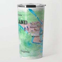 USA Maryland State Travel Poster Map with Touristic Highlights Travel Mug