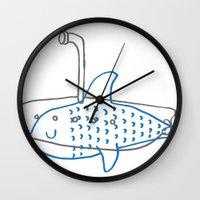 submarine Wall Clocks featuring Submarine by Ena Jurov