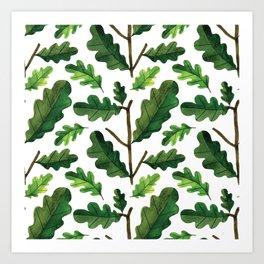 Botanic Watercolor Collection #13 - oak leaves Art Print