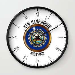 New Hampshire Proud Flag Button Wall Clock