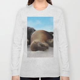 Sea lions family sleeping together on beach Long Sleeve T-shirt
