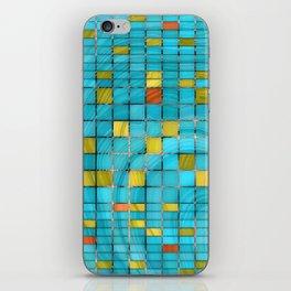 Block Aqua Blue and Yellow Art - Block Party 2 - Sharon Cummings iPhone Skin