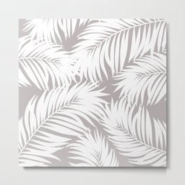 Palm Tree Fronds White on Soft Grey Hawaii Tropical Décor Metal Print