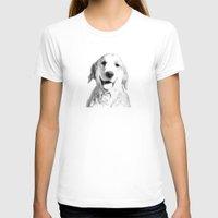 golden retriever T-shirts featuring Amber // Golden Retriever by Dog of Art