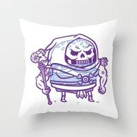 skeletor Throw Pillows featuring Cheeseburger Skeletor by Philip Tseng