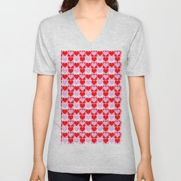 Love Heart Red Pink and White Check Pattern Unisex V-Neck