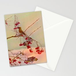 Bird waxwing Stationery Cards