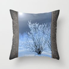 Hoar Frost on the Lilac Bush Throw Pillow