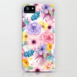 Modern elegant pink lavender yellow watercolor floral iPhone Case