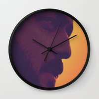 stanley kubrick Wall Clocks featuring Stanley Kubrick by Howling Youth