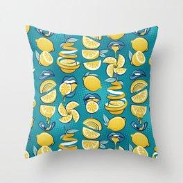 Pop art citrus addiction // teal background blue lips yellow lemons and citrus fruits Throw Pillow