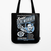sonic Tote Bags featuring Sonic Screwdriver by harebrained