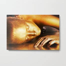 Close-up portrait of a gold girl's face (bodypainting art) Metal Print