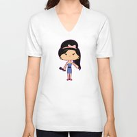 amy poehler V-neck T-shirts featuring Amy by Sombras Blancas Art & Design