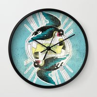 swallow Wall Clocks featuring Swallow by Chiara Sgatti