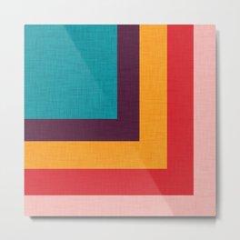 Abstract Mod Cube Teal  #midcenturymodern Metal Print