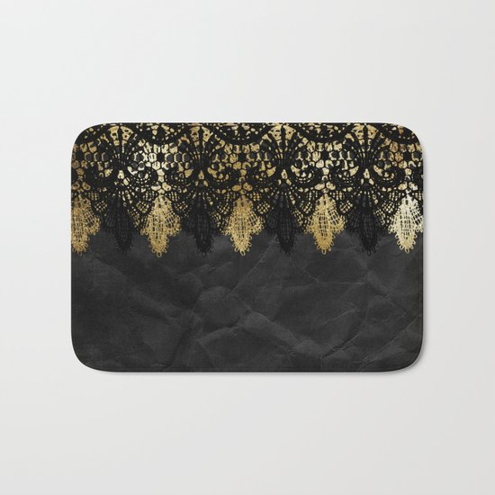 Simply elegance - Gold and black ornamental lace on black paper Bath Mat