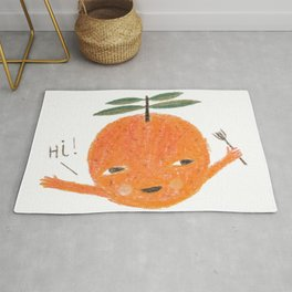 Hi! orange illustration Rug