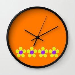 Spring Daisies Jelly Art - Orange Purple Yellow Wall Clock