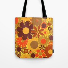 Funky Daisy Floral in Electric Orange Tote Bag