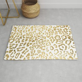 Modern Hipster Girly Gold Leopard Animal Print Rug