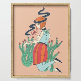 Cactus Snake Woman Serving Tray