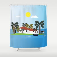 mexican Shower Curtains featuring Mexican Villa by Design4u Studio