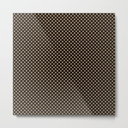 Black and Iced Coffee Polka Dots Metal Print