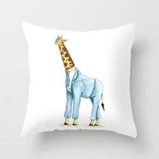 Giraffe in suit Throw Pillow