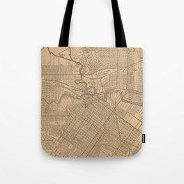 Vintage Houston Texas Railroad Map (1890) Tote Bag