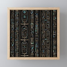 Egyptian hieroglyphs pattern Gold Abalone Framed Mini Art Print