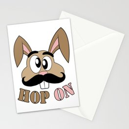 Funny Mustache Rabbit Hop On Stationery Cards