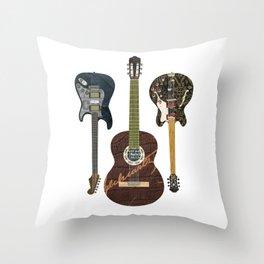 Guitar Collage Throw Pillow