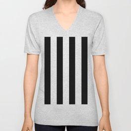 Simply Vertical Stripes in Midnight Black Unisex V-Neck