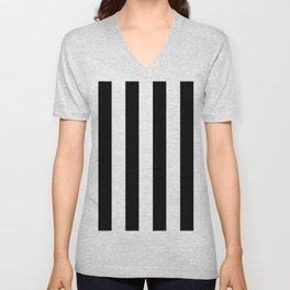 Simply Vertical Stripes in Midnight Black Unisex V-Neck