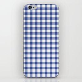 Blue and white tartan plaid. iPhone Skin