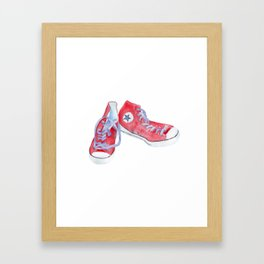 Red sneakers Framed Art Print