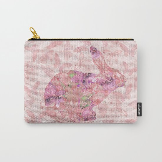 cute floral pattern watercolor Bunny art Carry-All Pouch