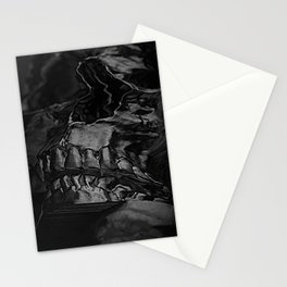 3D Data Mosh Skull - Black Cropped Stationery Cards