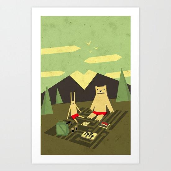 Robot Picnic Art Print