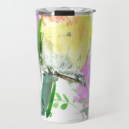 Lovebird and Flower, beautiful floral art Travel Mug