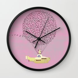 Yellow Submarine flying with Music Wall Clock