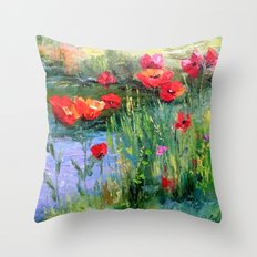 Poppies in a field near a pond Throw Pillow