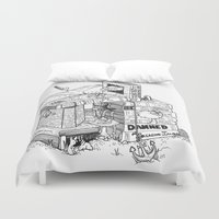 conan Duvet Covers featuring Worlds within Worlds by KadetKat
