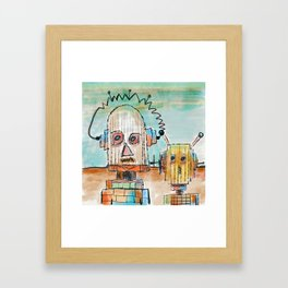"""""""Two Robot Dudes waiting for a Spaceship to go To Thompsonville near the AZ Strip"""" Framed Art Print"""