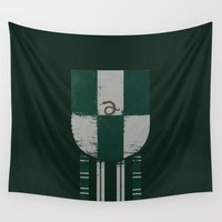 slytherin Wall Tapestries featuring slytherin crest by nisimalotse