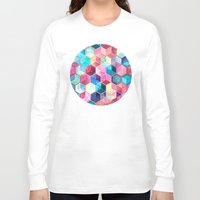 crystal Long Sleeve T-shirts featuring Topaz & Ruby Crystal Honeycomb Cubes by micklyn