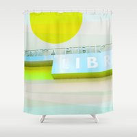 santa monica Shower Curtains featuring Santa Monica Library v3 by Cally Creates